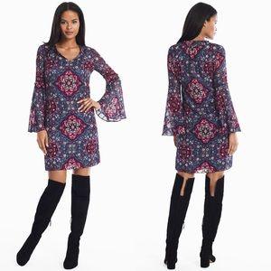 WHBM LONG BELL SLEEVE MEDALLION PRINT SHIFT DRESS